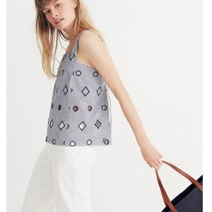 Madewell Embroidered Stripe Apron Top